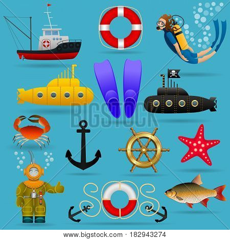 Marine set of objects and characters. Marine animals, water transport, equipment and people under water. Vector illustration.