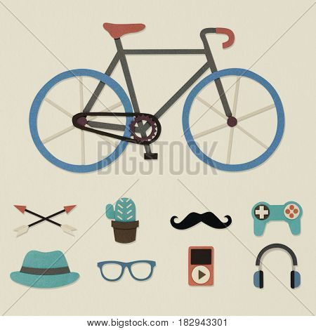 Illustration of bicycle and hipster lifestyle culture icon