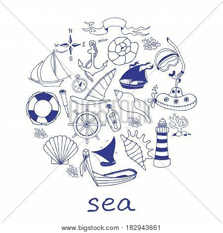 Hand drawn sea doodle Icons collection on white background. Vector illustration for your design