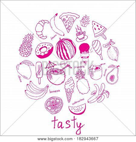 Hand drawn fruits doodle Icons collection on white background. Vector illustration for your design