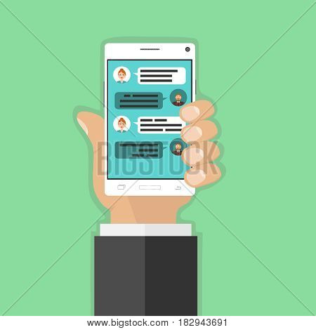 Chat correspondence on the phone. Flat design vector illustration vector.