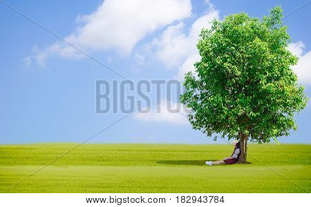 Lady Under the tree Shepherd boy Grassy sky horse of Earth day Ecology concept