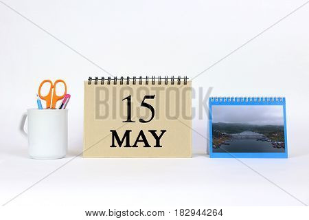 Deadline 15 May Calendar With White Background and Office.