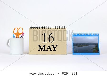 Deadline 16 May Calendar With White Background and Office.