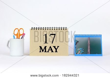 Deadline 17 May Calendar With White Background and Office.