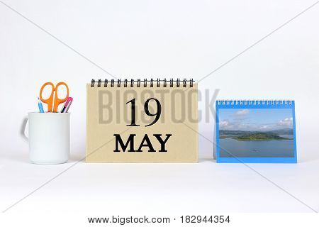 Deadline 19 May Calendar With White Background and Office.