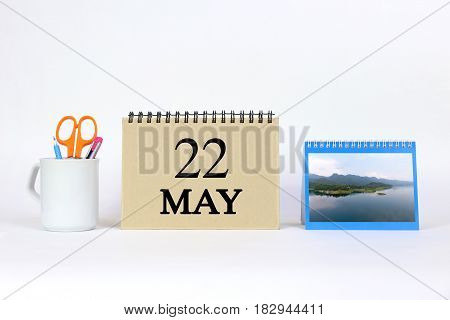 Deadline 22 May Calendar With White Background and Office.