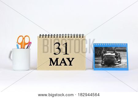Deadline 31 May Calendar With White Background and Office.