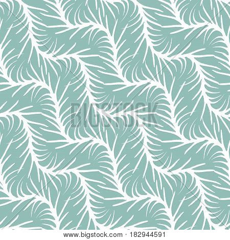 Decorative hand drawn seamless pattern. Endless ornament with white ink doodles on light green backdrop. Hand painted stylish background for fabric, wrapping, packaging paper, wallpaper