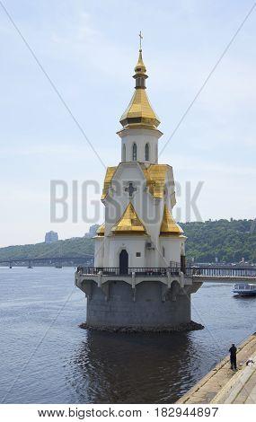 The Church of St. Nicholas the Wonderworker on the water in Kiev, Ukraine