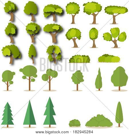 Set of coniferous and deciduous green trees. Flat design vector illustration vector.