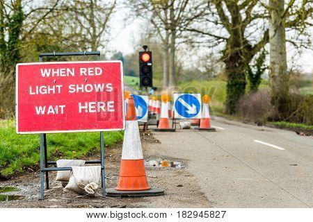 UK Motorway Services Roadworks Cones Traffic Signpost.