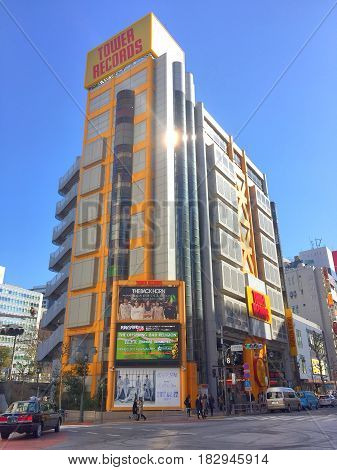 TOKYO JAPAN 15 FEB 2017: Building of Tower Records, major retail music chain in Shibuya district of Tokyo