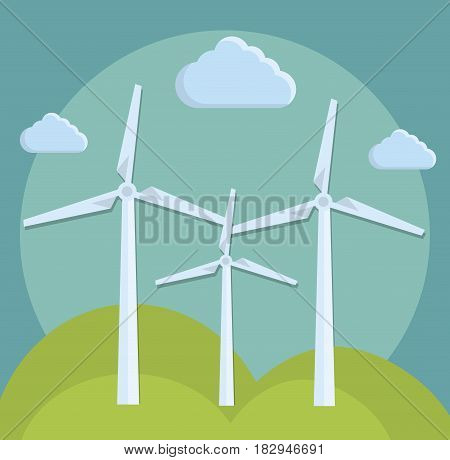 eolic turbines icon over blue background. colorful design. vector illustration