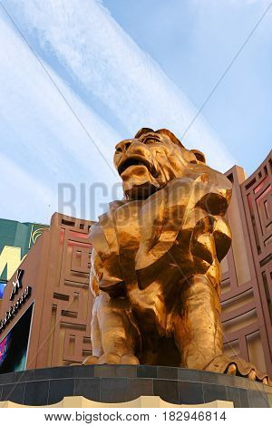 LAS VEGAS Nevada State,Oct 09 2016 Las Vegas Boulevard at Morning, MGM GRAND CASINO AND HOTEL,Statue of Gold Lion