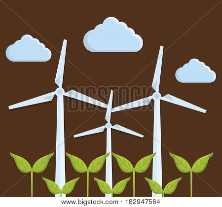 green plants and eolic turbines icon over brown background. colorful design. vector illustration