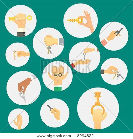Hand holding key apartment selling human gesture sign security house concept symbol vector illustration. Business success bodu part with agent lock finger people.