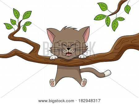 Little cat ist playing on a branch