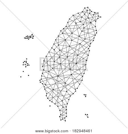 Map of Taiwan from polygonal black lines and dots of vector illustration