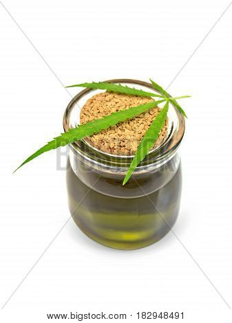 Oil Hemp In Glass Jar With Leaf On Lid