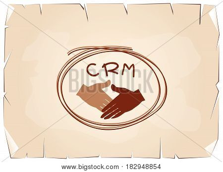 Business Concepts, Handshake with CRM or Customer Relationship Management Concepts on Old Antique Vintage Grunge Paper Texture Background.