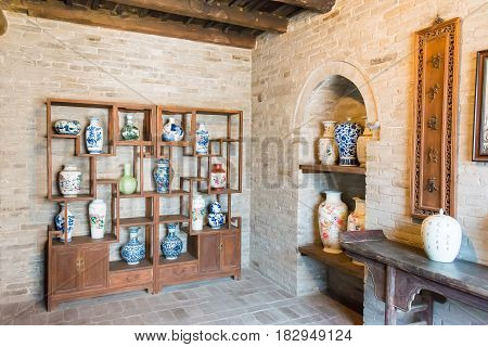 Shanxi, China - Aug 29 2015: Gucheng Dayuan(folk Museum). A Famous Historic Site In Linfen, Shanxi,