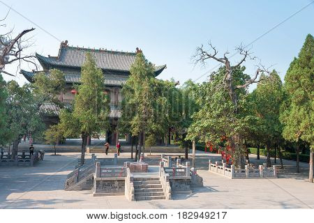 Shanxi, China - Aug 29 2015: Yao Temple. A Famous Historic Site In Linfen, Shanxi, China.