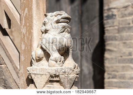 Shanxi, China -  Sept 05 2015: Statue At Wang Family Courtyard. A Famous Historic Site In Lingshi, J