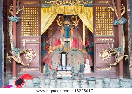 Shanxi, China - Sept 05 2015: Statue At Jingsheng Confucian Temple. A Famous Historic Site In Lingsh