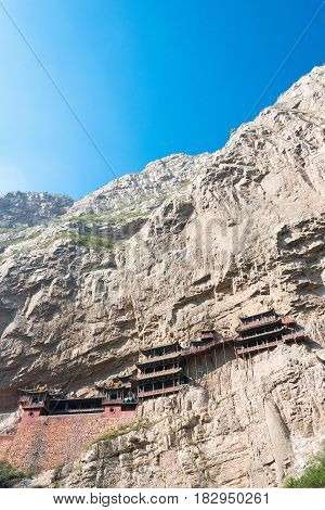 Shanxi, China - Sept 18 2015: Hanging Temple(xuankong Temple). A Famous Historic Site In Hunyuan, Da