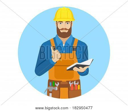 Worker with pen and pocketbook. Portrait of worker character in a flat style. Vector illustration.