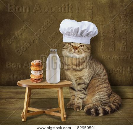 The cat cook made doughnuts. These doughnuts and a bottle of milk are on the table. He wears a chef hat.
