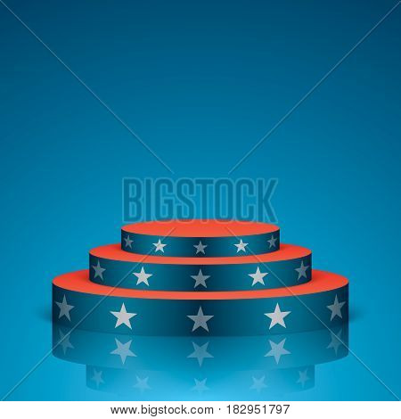 Blue vector stage with red stairs and white stars, isolated on a background. Show scene in a USA flag colors.