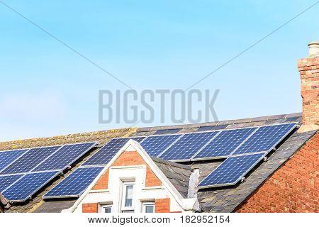 UK Solar Energy Panel on Sunny Roof.