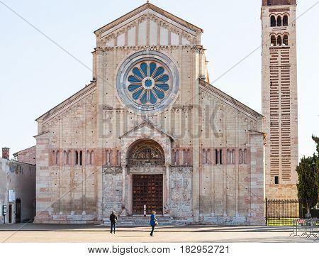 People Near Basilica Of San Zeno In Verona City