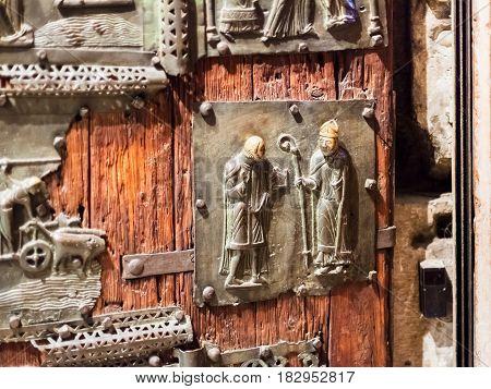 Bronze Panel On Door In Basilica Di San Zeno