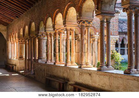 Arcade In Patio Of Basilica Di San Zeno In Verona