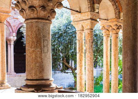 Columns Of Cloister Of Basilica Di San Zeno