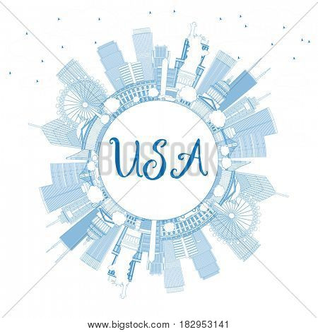 Outline USA Skyline with Blue Skyscrapers, Landmarks and Copy Space. Business Travel and Tourism Concept with Modern Architecture. Image for Presentation Banner Placard and Web.