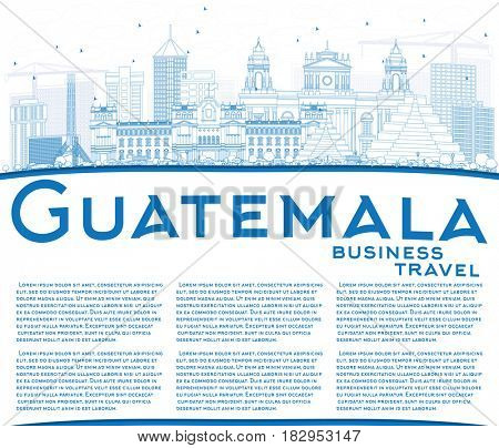 Outline Guatemala Skyline with Blue Buildings and Copy Space. Business Travel and Tourism Concept with Modern Architecture. Image for Presentation Banner Placard and Web Site.