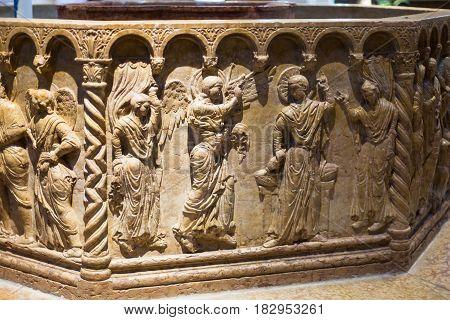 Baptismal Font In Baptistery Of Verona Duomo