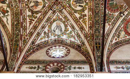 Decorated Ceiling In Chiesa Di Sant Anastasia