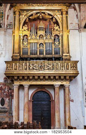 Organ In Chiesa Di Sant Anastasia In Verona