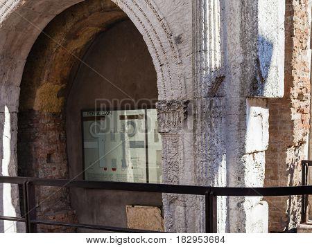 Ancient Porta Leoni In Verona City