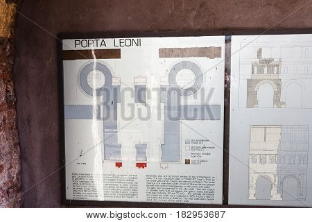 Schematic Plan On Ancient Porta Leoni In Verona
