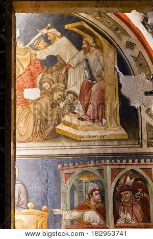 Frescoes In Chapel Alighieri In Chiesa San Fermo