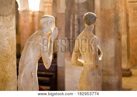 Sculptures In Lower Church Of Chiesa Di San Fermo