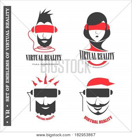 Set of logos virtual reality for web design. Vector illustration