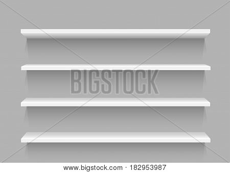 White store empty shelf template with shadow for goods on gray background. Frame supermarket shop furniture design. Demonstration board