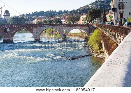 Ponte Pietra Roman Arch Bridge In Verona City